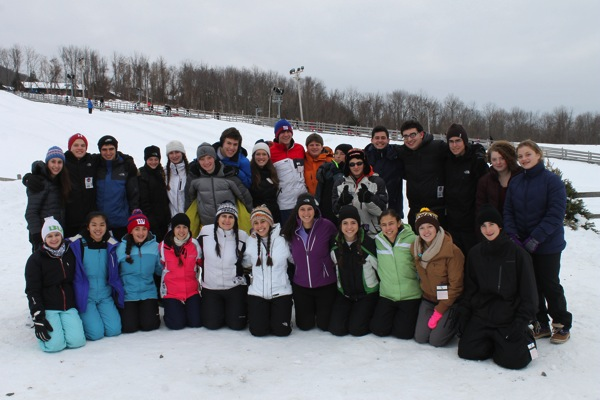Whole group snowtubing